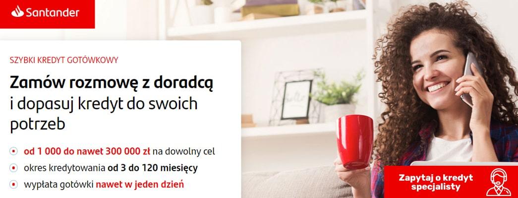 Kredyt gotówkowy Santander na dowolny cel z okresem kredytowania do 120 miesięcy