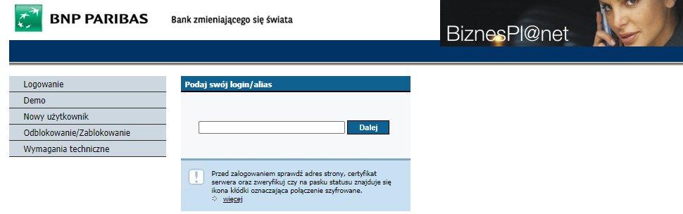 BNP Paribas - konto biznes - logowanie