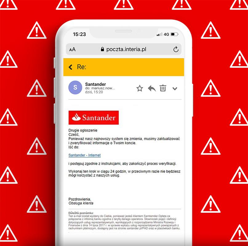 Przykład wiadomości email przesłany przez oszustów podszywających się pod Santander Consumer Bank