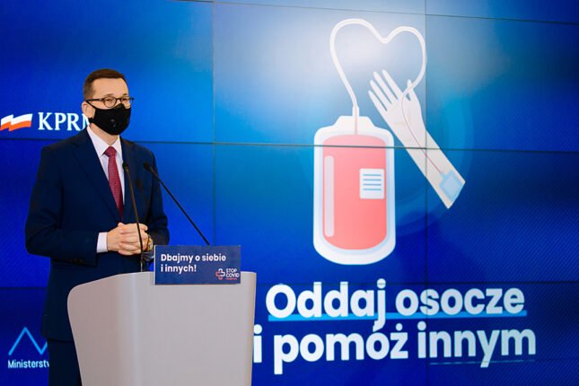 Premier Mateusz Morawiecki na konferencji o oddawaniu osocza zapowiada nowe podatki