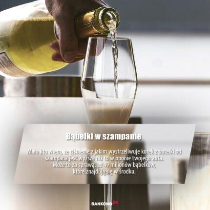 Bąbelki w szampanie - Mało kto wiem, że ciśnienie z jakim wystrzeliwuje korek z butelki od szampana jest wyższe niż to w oponie twojego auta. Może to za sprawą, aż 49 milionów bąbelków, które znajdują się w środku.