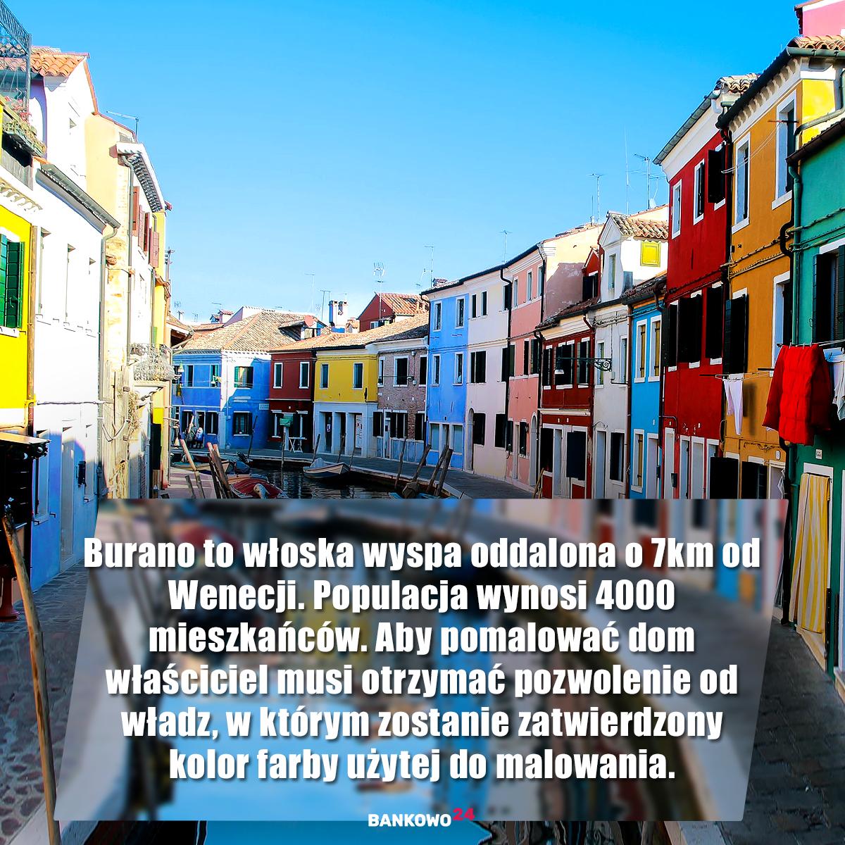 Burano to włoska wyspa oddalona o 7km od Wenecji. Populacja wynosi 4000 mieszkańców. Aby pomalować dom właściciel musi otrzymać pozwolenie od władz, w którym zostanie zatwierdzony kolor farby użytej do malowania.